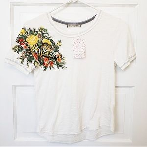 NWOT Free People Embroidered White T Shirt
